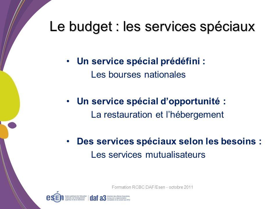 Un service spécial prédéfini : Les bourses nationales Un service spécial dopportunité : La restauration et lhébergement Des services spéciaux selon le