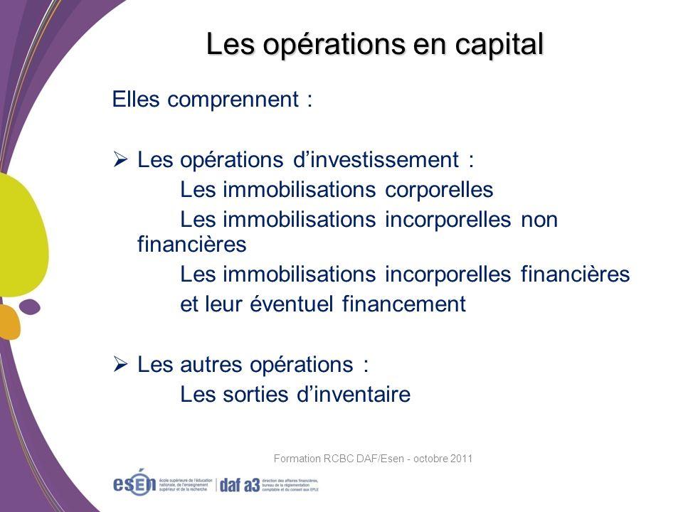 Elles comprennent : Les opérations dinvestissement : Les immobilisations corporelles Les immobilisations incorporelles non financières Les immobilisat