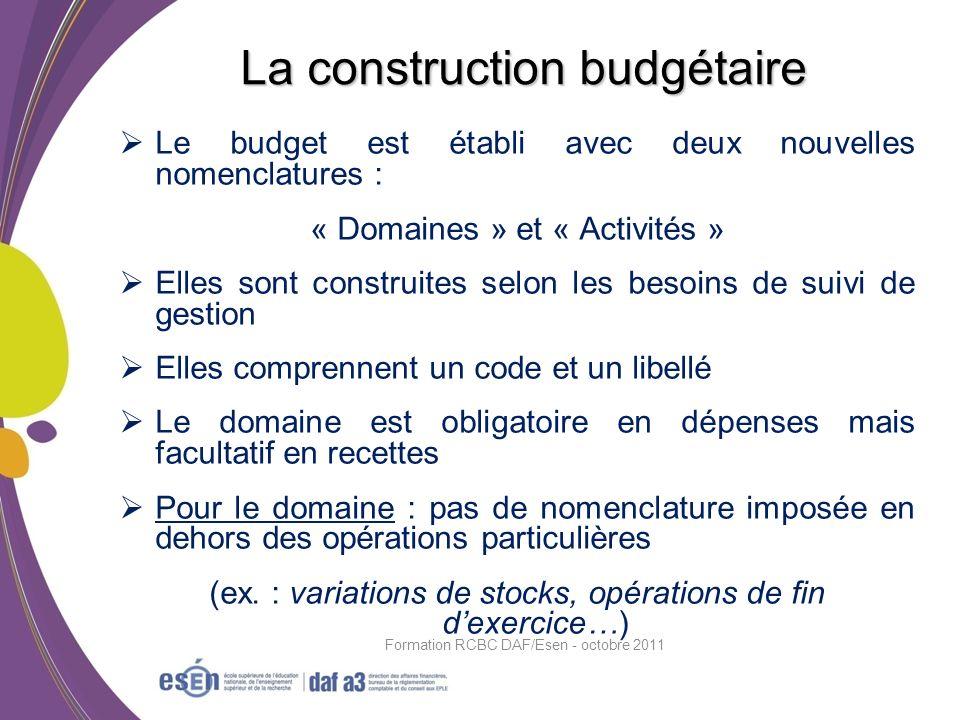 Le budget est établi avec deux nouvelles nomenclatures : « Domaines » et « Activités » Elles sont construites selon les besoins de suivi de gestion El