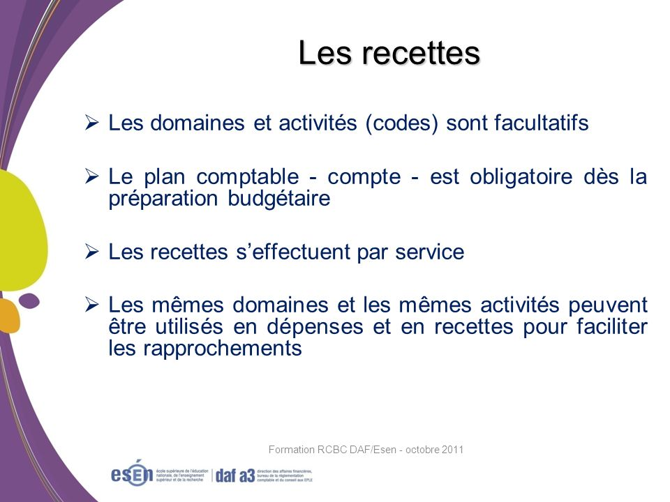 Les domaines et activités (codes) sont facultatifs Le plan comptable - compte - est obligatoire dès la préparation budgétaire Les recettes seffectuent
