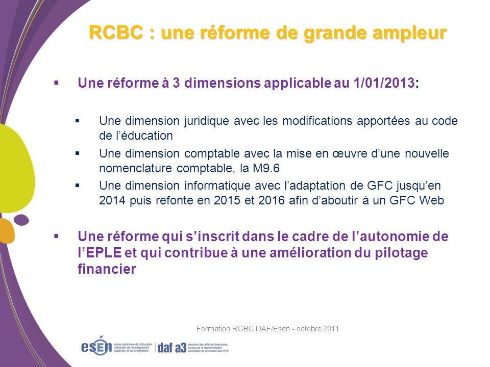 Une réforme à 3 dimensions applicable au 1/01/2013: Une dimension juridique avec les modifications apportées au code de léducation Une dimension compt