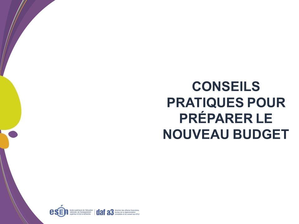 Formation RCBC DAF/Esen - octobre 2011 CONSEILS PRATIQUES POUR PRÉPARER LE NOUVEAU BUDGET