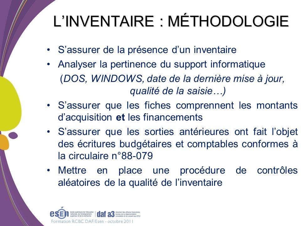 Formation RCBC DAF/Esen - octobre 2011 LINVENTAIRE : MÉTHODOLOGIE Sassurer de la présence dun inventaire Analyser la pertinence du support informatiqu
