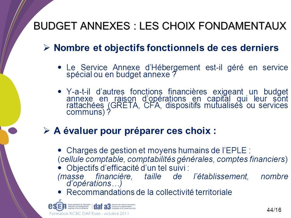 Formation RCBC DAF/Esen - octobre 2011 44/16 BUDGET ANNEXES : LES CHOIX FONDAMENTAUX Nombre et objectifs fonctionnels de ces derniers Le Service Annex