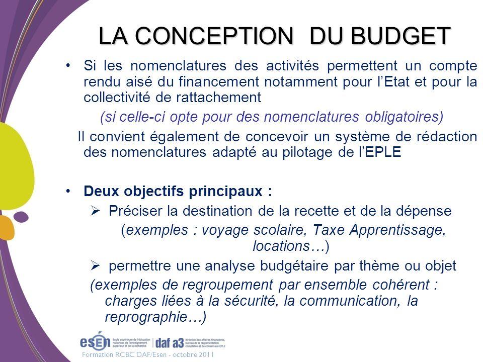 Formation RCBC DAF/Esen - octobre 2011 LA CONCEPTION DU BUDGET Si les nomenclatures des activités permettent un compte rendu aisé du financement notam
