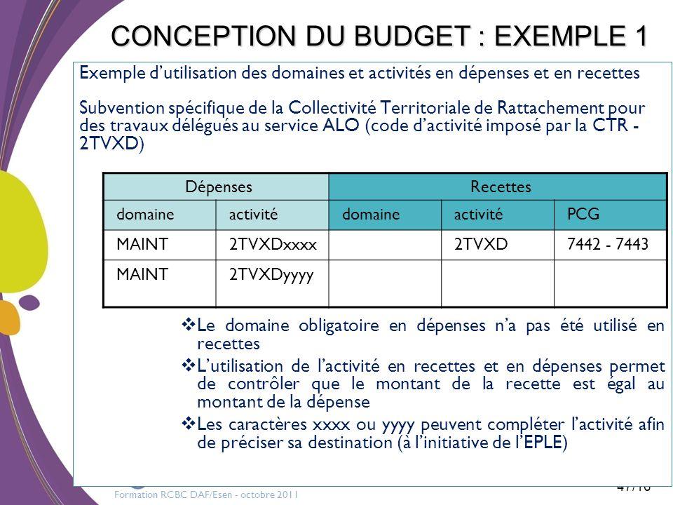 Formation RCBC DAF/Esen - octobre 2011 47/16 CONCEPTION DU BUDGET : EXEMPLE 1 Exemple dutilisation des domaines et activités en dépenses et en recette