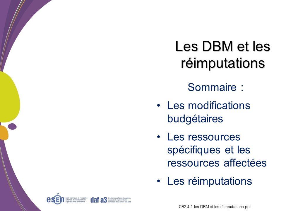 Sommaire : Les modifications budgétaires Les ressources spécifiques et les ressources affectées Les réimputations Formation RCBC DAF/Esen - octobre 20
