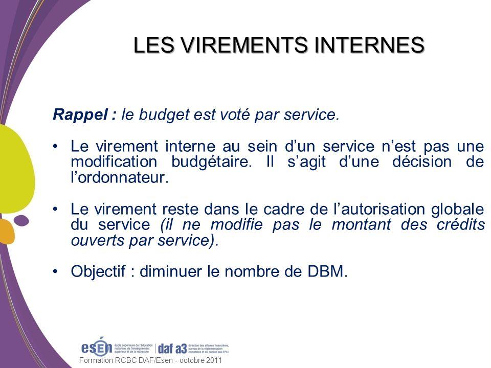 Rappel : le budget est voté par service. Le virement interne au sein dun service nest pas une modification budgétaire. Il sagit dune décision de lordo