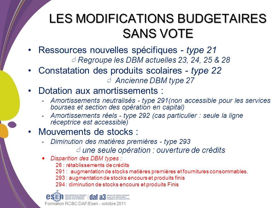 Ressources nouvelles spécifiques - type 21 Regroupe les DBM actuelles 23, 24, 25 & 28 Constatation des produits scolaires - type 22 Ancienne DBM type