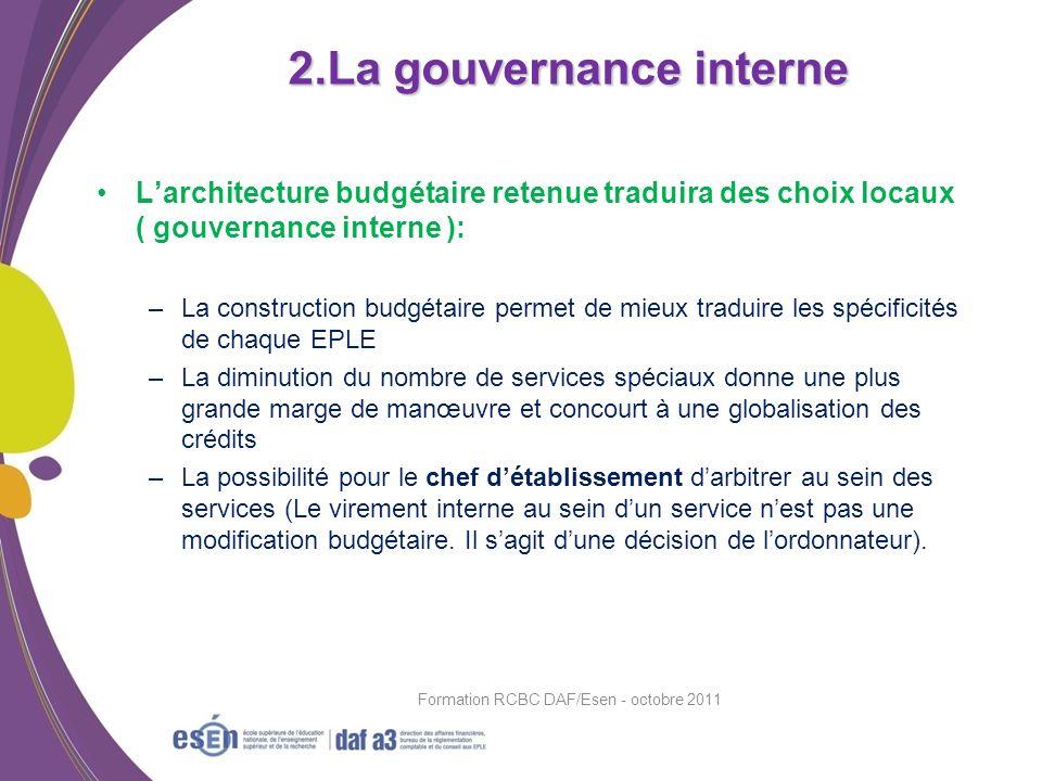 Larchitecture budgétaire retenue traduira des choix locaux ( gouvernance interne ): –La construction budgétaire permet de mieux traduire les spécifici