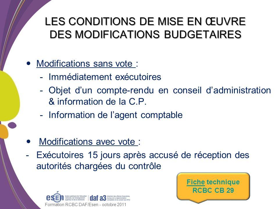 Modifications sans vote : -Immédiatement exécutoires -Objet dun compte-rendu en conseil dadministration & information de la C.P. -Information de lagen