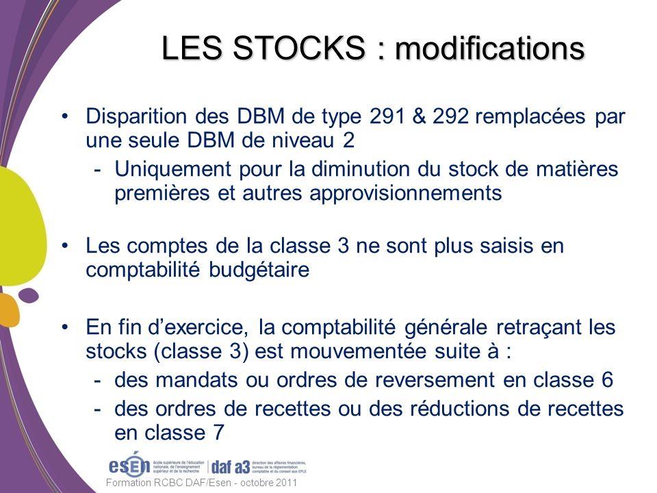 Disparition des DBM de type 291 & 292 remplacées par une seule DBM de niveau 2 -Uniquement pour la diminution du stock de matières premières et autres