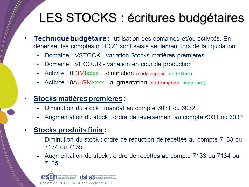 Technique budgétaire : utilisation des domaines et/ou activités. En dépense, les comptes du PCG sont saisis seulement lors de la liquidation Domaine :