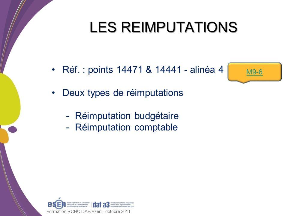 Réf. : points 14471 & 14441 - alinéa 4 Deux types de réimputations -Réimputation budgétaire -Réimputation comptable Formation RCBC DAF/Esen - octobre