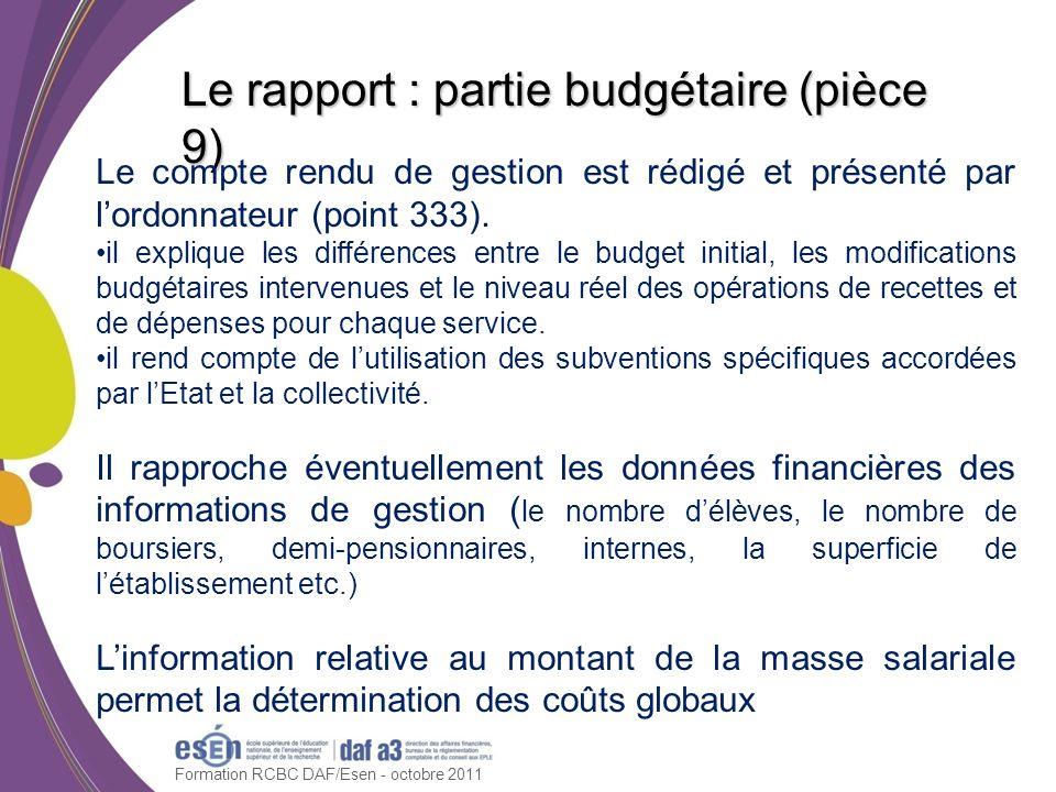 Formation RCBC DAF/Esen - octobre 2011 Le rapport : partie budgétaire (pièce 9) Le compte rendu de gestion est rédigé et présenté par lordonnateur (po