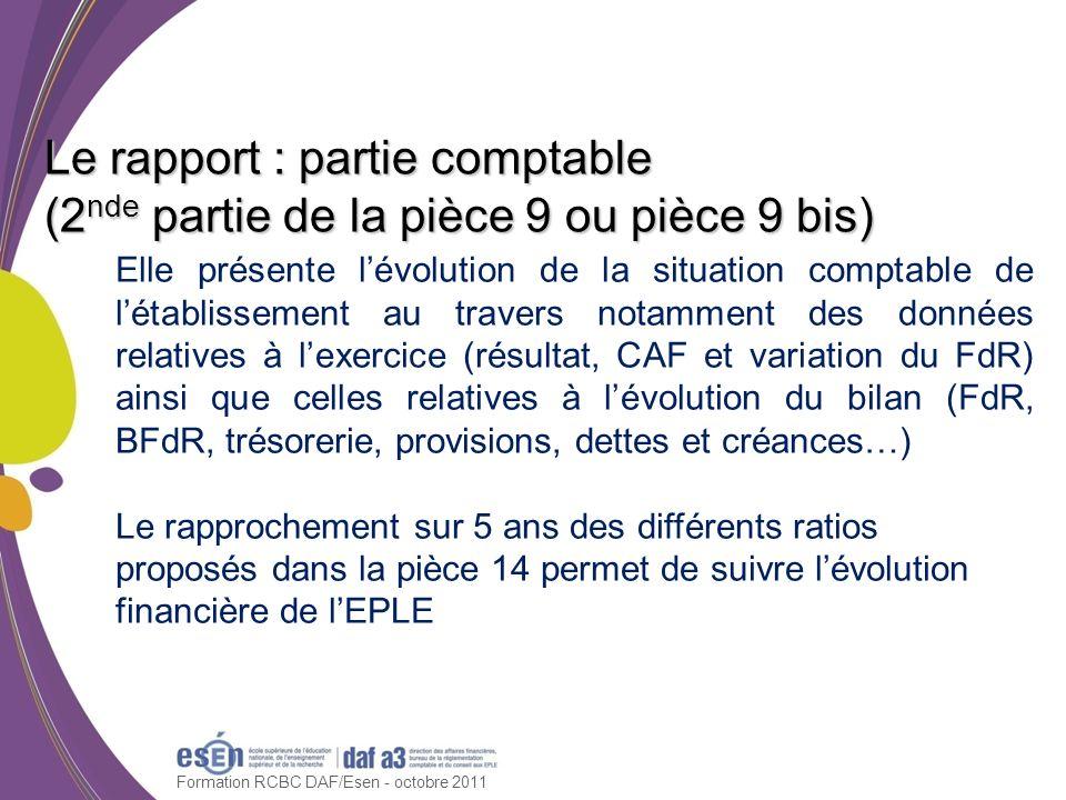 Formation RCBC DAF/Esen - octobre 2011 Le rapport : partie comptable (2 nde partie de la pièce 9 ou pièce 9 bis) Elle présente lévolution de la situat