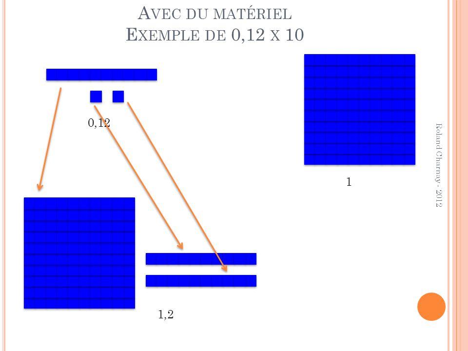 A VEC DU MATÉRIEL E XEMPLE DE 0,12 X 10 Roland Charnay - 2012 1 0,12 1,2