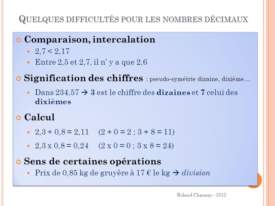Roland Charnay - 2012 Q UELQUES DIFFICULTÉS POUR LES NOMBRES DÉCIMAUX Comparaison, intercalation 2,7 < 2,17 Entre 2,5 et 2,7, il n y a que 2,6 Signifi