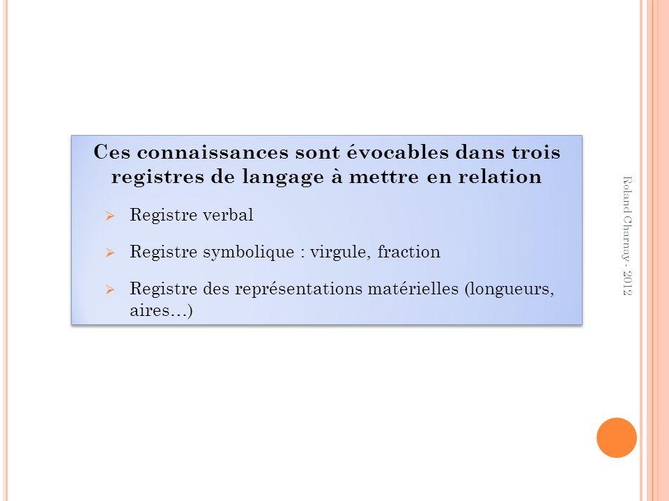 Ces connaissances sont évocables dans trois registres de langage à mettre en relation Registre verbal Registre symbolique : virgule, fraction Registre