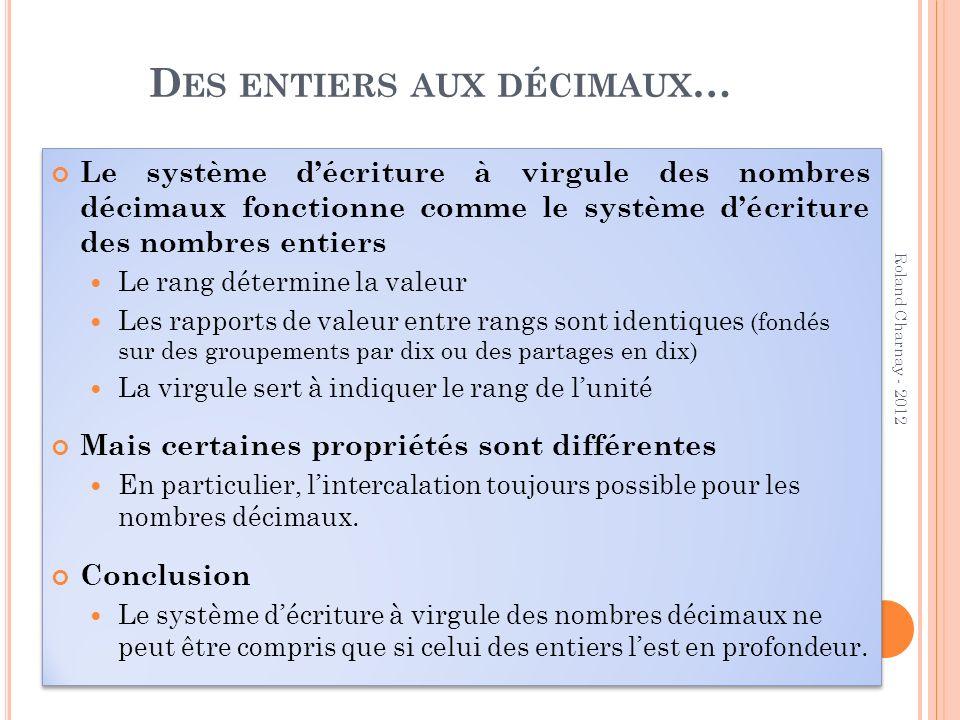 D ES ENTIERS AUX DÉCIMAUX … Le système décriture à virgule des nombres décimaux fonctionne comme le système décriture des nombres entiers Le rang déte