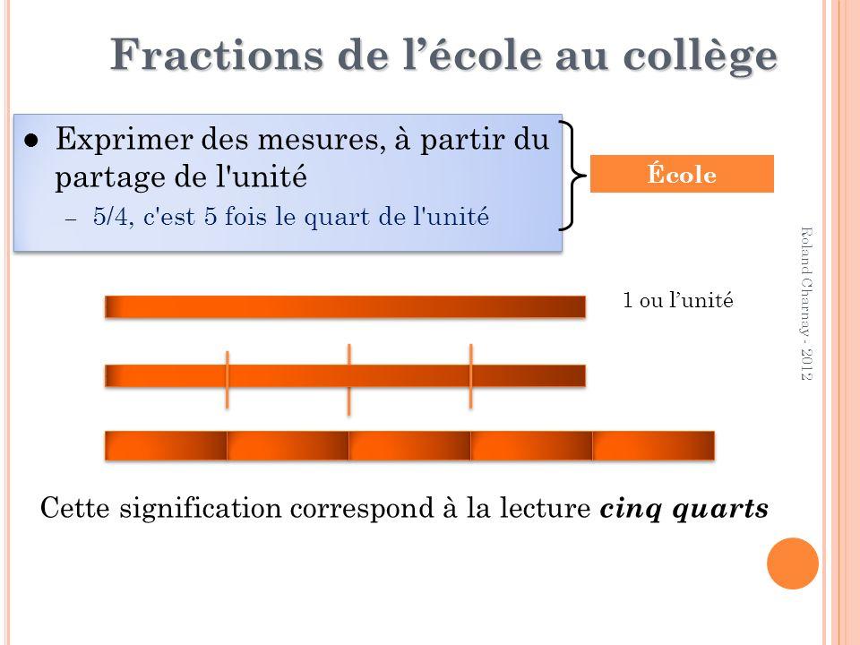 Roland Charnay - 2012 Fractions de lécole au collège Exprimer des mesures, à partir du partage de l'unité – 5/4, c'est 5 fois le quart de l'unité Expr