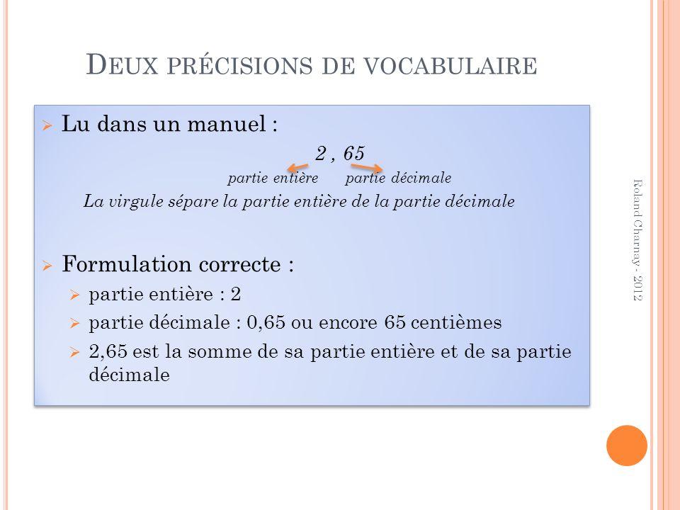 D EUX PRÉCISIONS DE VOCABULAIRE Lu dans un manuel : 2, 65 partie entière partie décimale La virgule sépare la partie entière de la partie décimale For