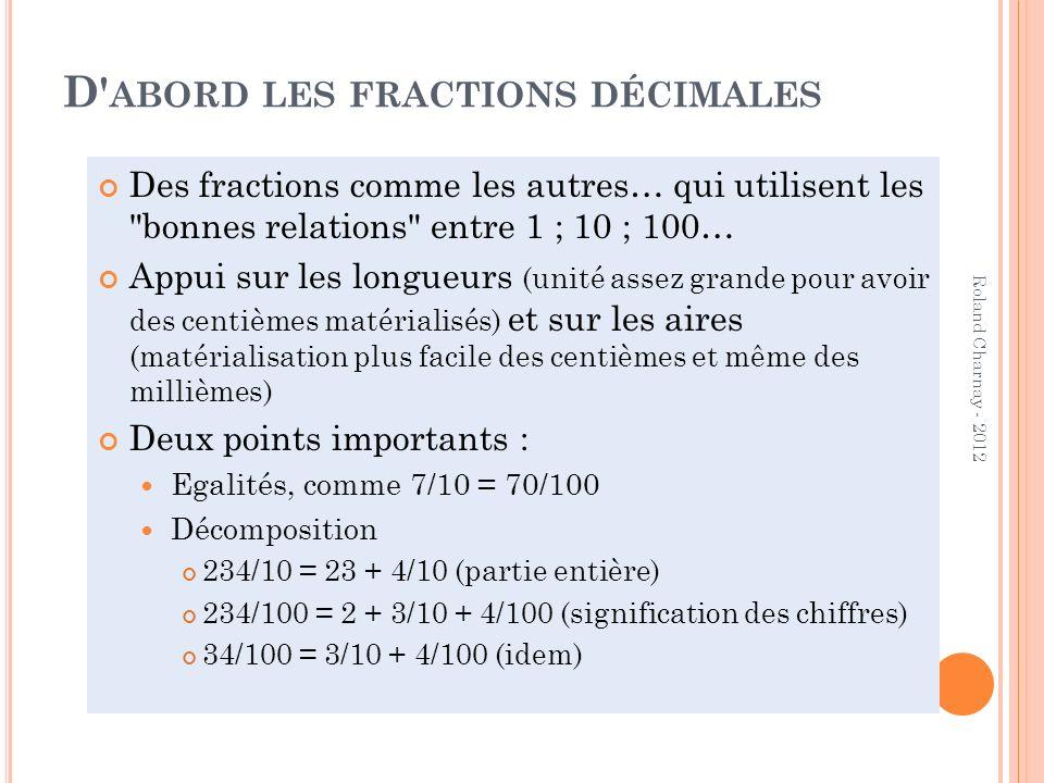 D' ABORD LES FRACTIONS DÉCIMALES Des fractions comme les autres… qui utilisent les