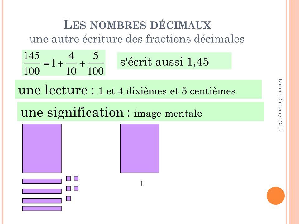 L ES NOMBRES DÉCIMAUX une autre écriture des fractions décimales Roland Charnay - 2012 une lecture : 1 et 4 dixièmes et 5 centièmes une signification