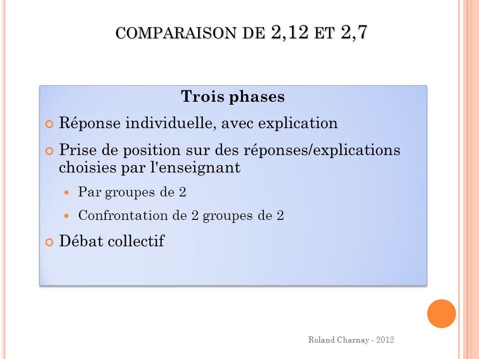 Roland Charnay - 2012 COMPARAISON DE 2,12 ET 2,7 Trois phases Réponse individuelle, avec explication Prise de position sur des réponses/explications c