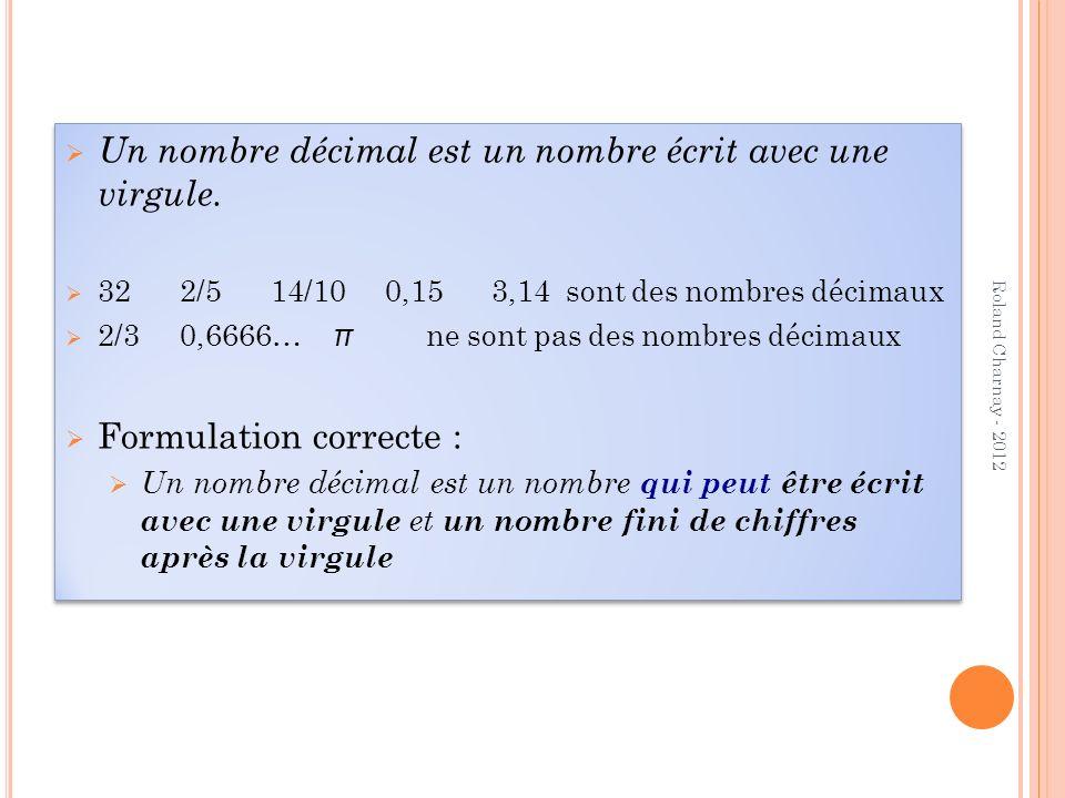 D ABORD LES FRACTIONS DÉCIMALES Des fractions comme les autres… qui utilisent les bonnes relations entre 1 ; 10 ; 100… Appui sur les longueurs (unité assez grande pour avoir des centièmes matérialisés) et sur les aires (matérialisation plus facile des centièmes et même des millièmes) Deux points importants : Egalités, comme 7/10 = 70/100 Décomposition 234/10 = 23 + 4/10 (partie entière) 234/100 = 2 + 3/10 + 4/100 (signification des chiffres) 34/100 = 3/10 + 4/100 (idem) Roland Charnay - 2012