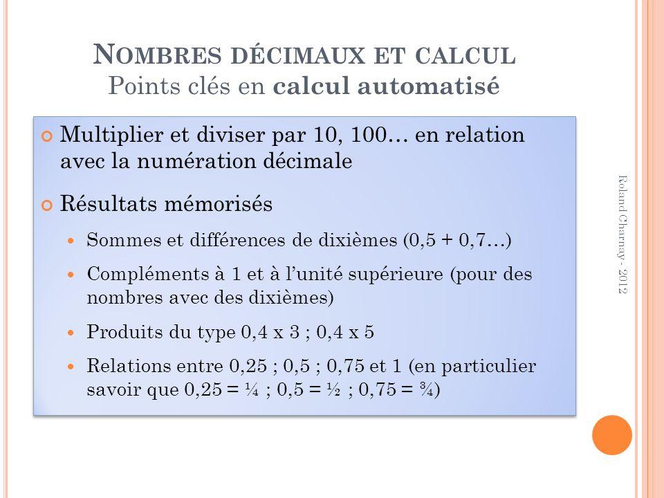 Multiplier et diviser par 10, 100… en relation avec la numération décimale Résultats mémorisés Sommes et différences de dixièmes (0,5 + 0,7…) Compléme