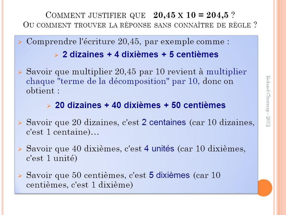 Roland Charnay - 2012 Exemples d arguments 2,12 > 2,7 parce que 12 > 7 2,7 > 2,12 parce que 2,7 = 2,70 (le 0 ne compte pas !) 2,7 > 2,12 parce que 2,70 > 2,12 (on a tout mis en centièmes) 2,7 > 2,12 parce que 7 dixièmes et plus grand que 1 dixième 2,7 > 2,12 parce que 2,7=27/10=270/100, 2,12=212/100 2,7 > 2,12 parce que le 7 de 2,7 cest 70 centièmes et le 12 de 2,12 cest seulement 12 centièmes 2,7 > 2,12 parce que dans 2,7 il y a 58 centièmes de plus que dans 2,12 2,12 > 2,7 parce que 12 > 7 2,7 > 2,12 parce que 2,7 = 2,70 (le 0 ne compte pas !) 2,7 > 2,12 parce que 2,70 > 2,12 (on a tout mis en centièmes) 2,7 > 2,12 parce que 7 dixièmes et plus grand que 1 dixième 2,7 > 2,12 parce que 2,7=27/10=270/100, 2,12=212/100 2,7 > 2,12 parce que le 7 de 2,7 cest 70 centièmes et le 12 de 2,12 cest seulement 12 centièmes 2,7 > 2,12 parce que dans 2,7 il y a 58 centièmes de plus que dans 2,12
