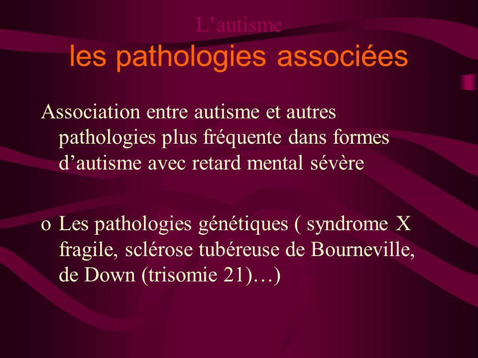 Lautisme les pathologies associées Association entre autisme et autres pathologies plus fréquente dans formes dautisme avec retard mental sévère oLes