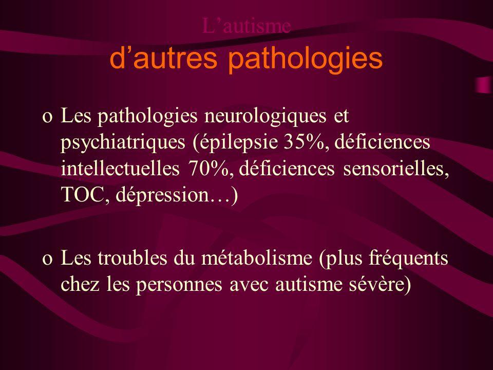 Lautisme dautres pathologies oLes pathologies neurologiques et psychiatriques (épilepsie 35%, déficiences intellectuelles 70%, déficiences sensorielle