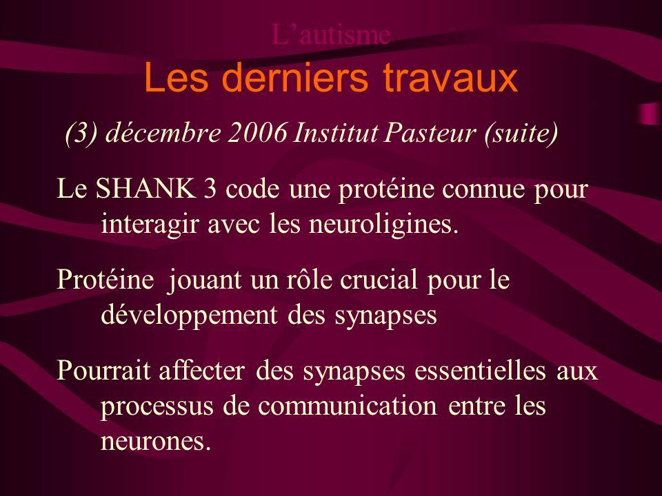 Lautisme Les derniers travaux (3) décembre 2006 Institut Pasteur (suite) Le SHANK 3 code une protéine connue pour interagir avec les neuroligines. Pro