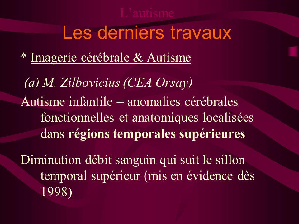 Lautisme Les derniers travaux * Imagerie cérébrale & Autisme (a) M. Zilbovicius (CEA Orsay) Autisme infantile = anomalies cérébrales fonctionnelles et