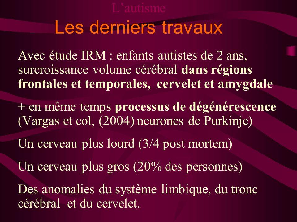 Lautisme Les derniers travaux Avec étude IRM : enfants autistes de 2 ans, surcroissance volume cérébral dans régions frontales et temporales, cervelet