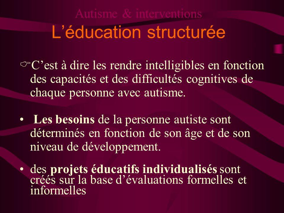 Autisme & interventions Léducation structurée Cest à dire les rendre intelligibles en fonction des capacités et des difficultés cognitives de chaque p