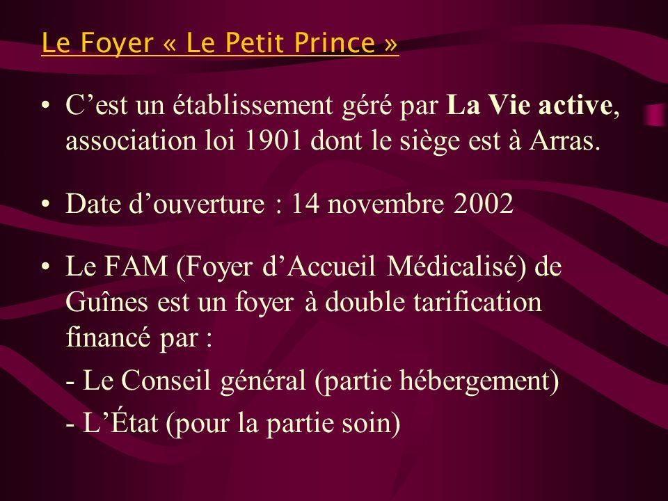 Le Foyer « Le Petit Prince » Cest un établissement géré par La Vie active, association loi 1901 dont le siège est à Arras. Date douverture : 14 novemb