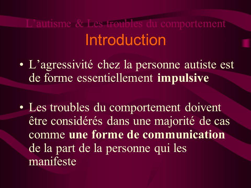 Lautisme & Les troubles du comportement Introduction Lagressivité chez la personne autiste est de forme essentiellement impulsive Les troubles du comp
