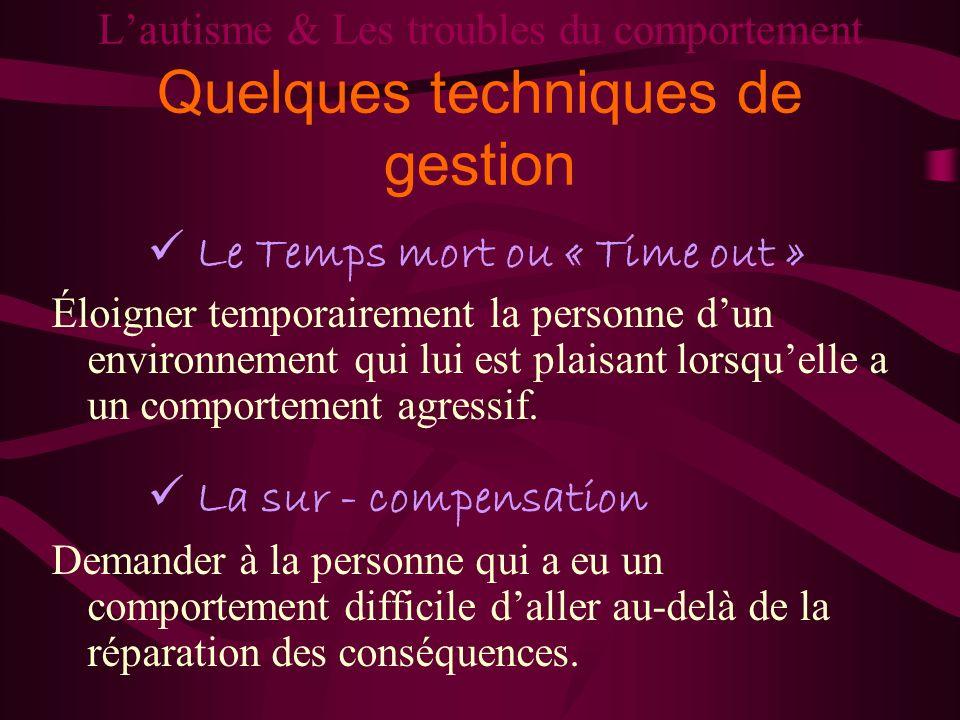 Lautisme & Les troubles du comportement Quelques techniques de gestion Le Temps mort ou « Time out » Éloigner temporairement la personne dun environne