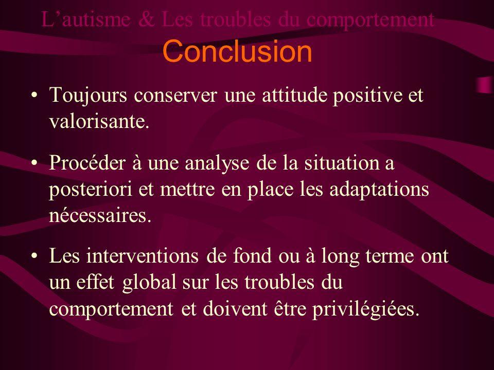 Lautisme & Les troubles du comportement Conclusion Toujours conserver une attitude positive et valorisante. Procéder à une analyse de la situation a p