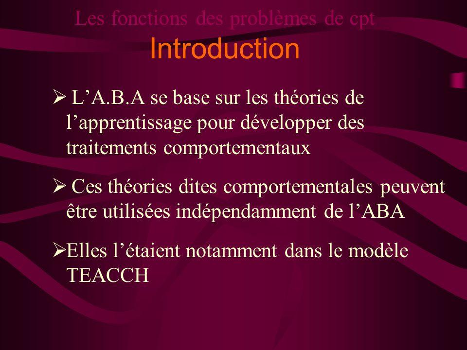 Les fonctions des problèmes de cpt Introduction LA.B.A se base sur les théories de lapprentissage pour développer des traitements comportementaux Ces