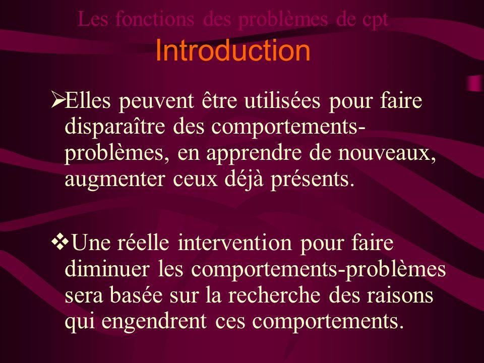 Les fonctions des problèmes de cpt Introduction Elles peuvent être utilisées pour faire disparaître des comportements- problèmes, en apprendre de nouv