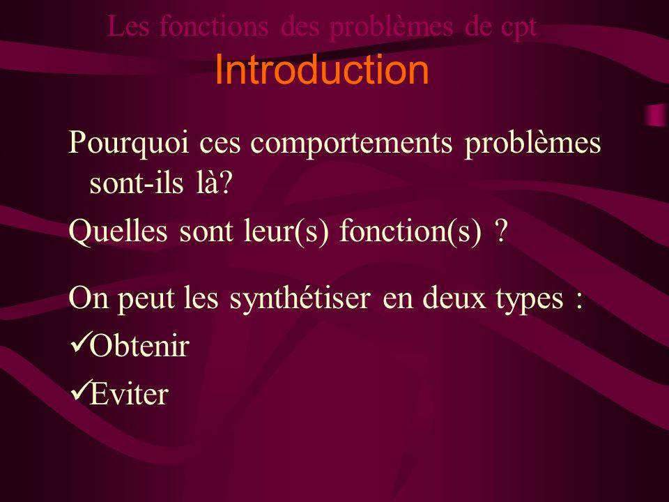 Les fonctions des problèmes de cpt Introduction Pourquoi ces comportements problèmes sont-ils là? Quelles sont leur(s) fonction(s) ? On peut les synth