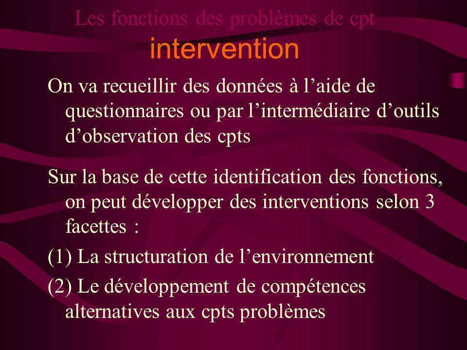 Les fonctions des problèmes de cpt intervention On va recueillir des données à laide de questionnaires ou par lintermédiaire doutils dobservation des