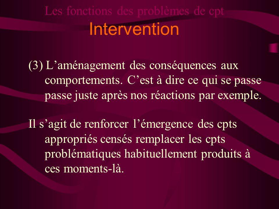 Les fonctions des problèmes de cpt Intervention (3) Laménagement des conséquences aux comportements. Cest à dire ce qui se passe passe juste après nos