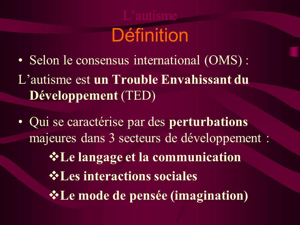 Lautisme Définition Selon le consensus international (OMS) : Lautisme est un Trouble Envahissant du Développement (TED) Qui se caractérise par des per