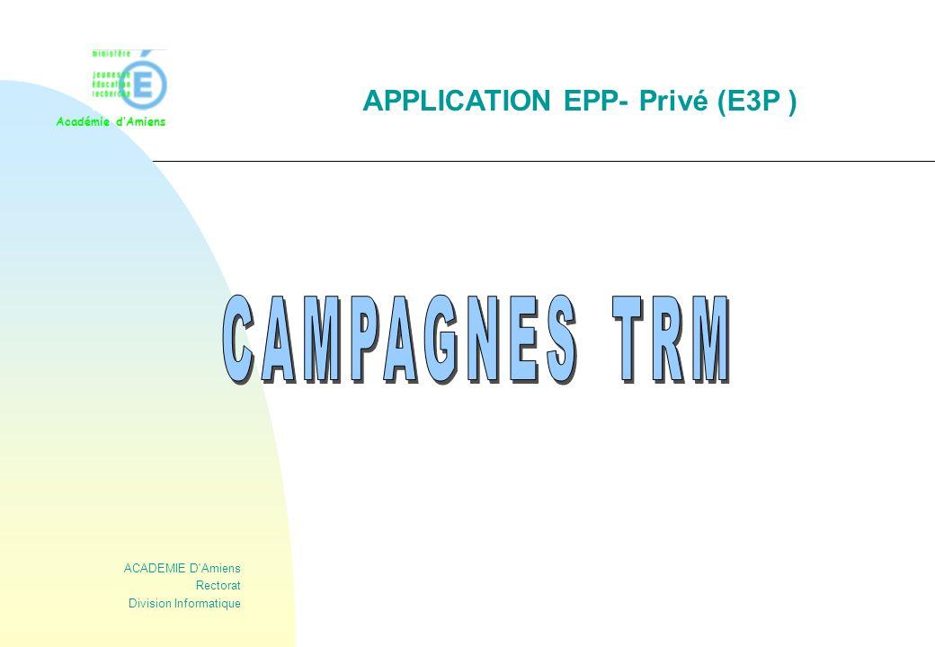 12 Cas de la première campagne (type P ) a) Ecran principal du TRM Le haut de l écran se compose de : * n° et libellé de l établissement, * date du TRM (1er septembre de l année scolaire à venir), * type de campagne (Première, Seconde, de renTrée ), * dates de début et de fin de campagne (bloquantes pour la saisie) * la barre des boutons d actions possibles généraux ou spécifiques * fonction (seule la fonction ENS est accessible dans le TRM), * nombre d heures de la dotation globale, et le reste à ventiler ( différence entre la dotation globale et les besoins ) Le tableau de détail se compose de lignes comprenant : * le code discipline (zone cliquable) et son libellé, * apports précédents (pour information), * besoins en heures de la D.G.H, * besoins ventilés à la date du TRM : zone modifiable (message d erreur possible, si la saisie dépasse la dotation ).