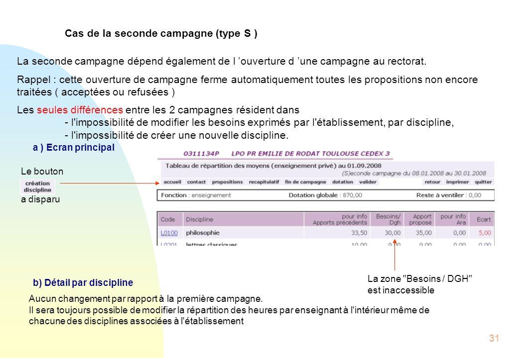 31 Cas de la seconde campagne (type S ) La seconde campagne dépend également de l ouverture d une campagne au rectorat.